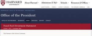 harvard president statement on divestment